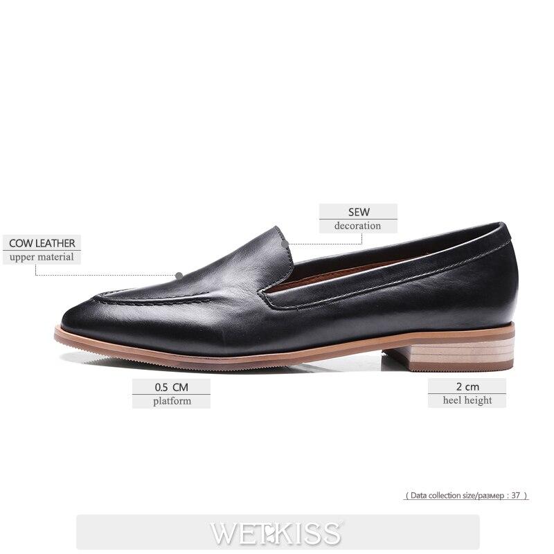 signore quadrata scarpe appartamenti moda marrone primavera pelle nuovo casual punta chiaro da Wetkiss nero arrivo on mocassini donna vera slip cucito in gvnwTq