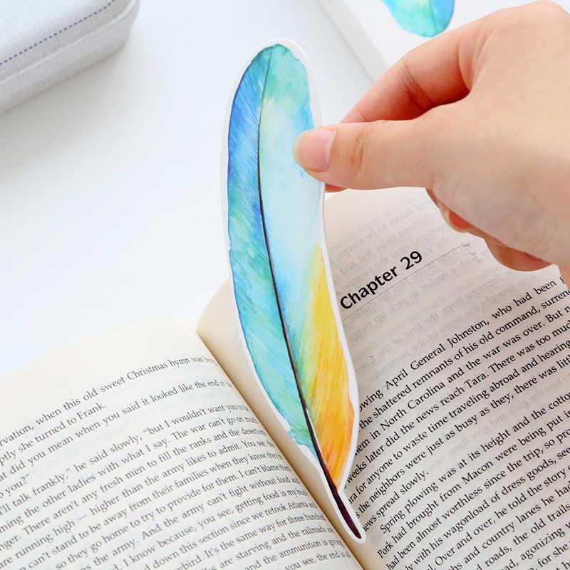 30 unidades/juego de marcador con forma de pluma para libros, marcador de papelería, accesorios de oficina, útiles escolares, separador de libros EC381