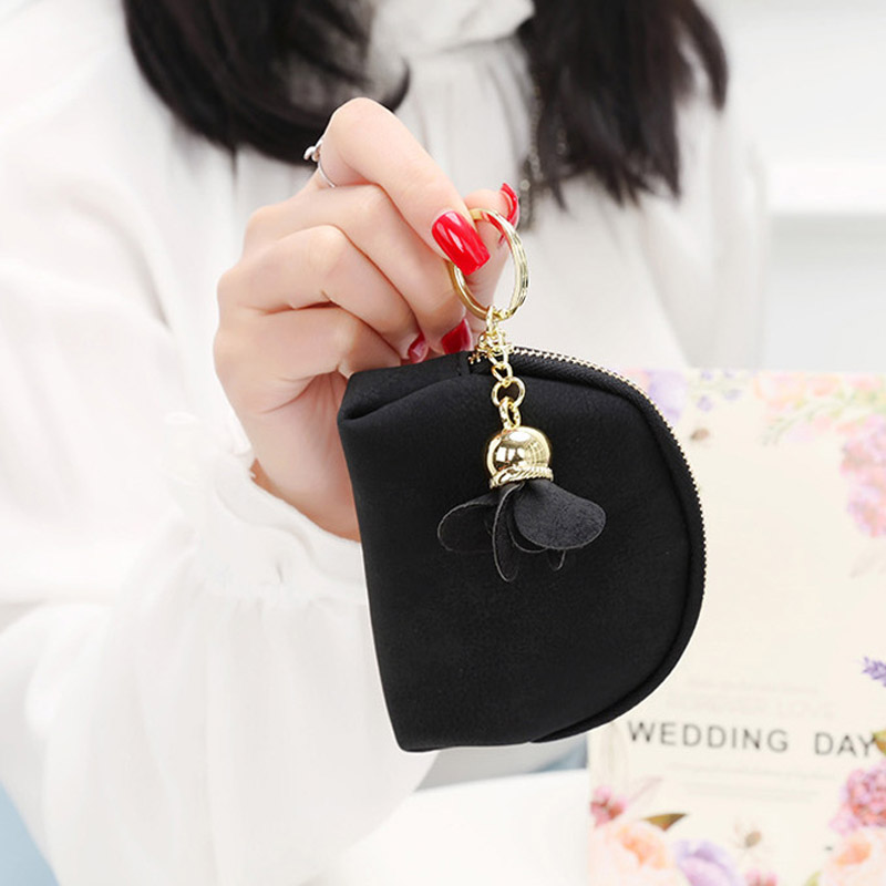 Fashion Korean Women Purse Leather Clutch Bag Solid Color Flower Decoration Zipped Wallet Ladies Girls Bags LXX9