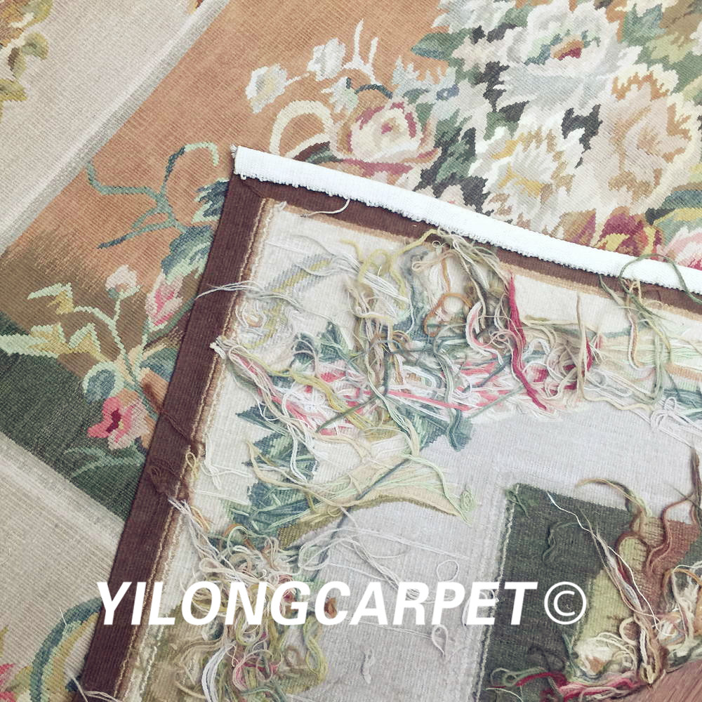 Yilong 3.1'x4.2' customized flat weave handmade french wool aubusson style wall tapestry (Au38 3.1x4.2) - 6