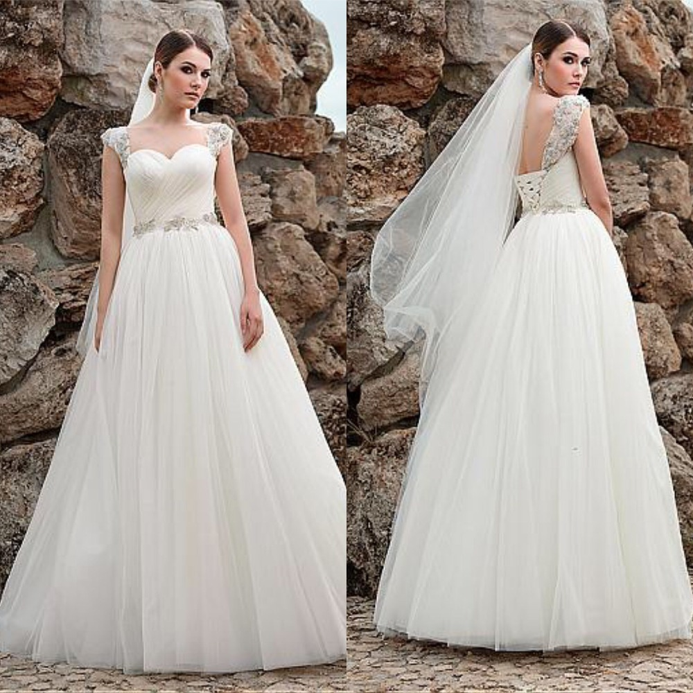 Fabulous Sweetheart Neckline A line Wedding Dresses With Beadings Tulle Bridal Gowns Pleated Vestidos de novia