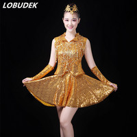 (top+skirt+cuff) Gold Red Purple Sequins Sets Adult Lady DS Costumes Teams Modern dance Jazz Hip Hop performance stage clothing