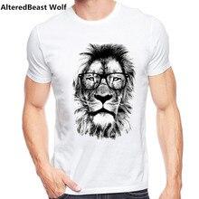 2016 Moda de Nueva león Diseño Hombres Camiseta de Manga Corta de Los  Hombres rey león Imprimió la Camiseta Del O-cuello de Los . f87d594051d