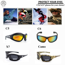 Фотография Daisy C5 Military glasses Men Motocycle Tactical Sunglasses Outdoor Gafas Goggles 4 Lenses Polarized Windproof Eyewear Oculos