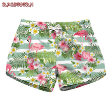 b14ba4183bfb9 RAISEVERN Women High Waist Shorts Flamingos Print Pocket Casual Summer Cool  Bottom Shorts Floral Print Wide