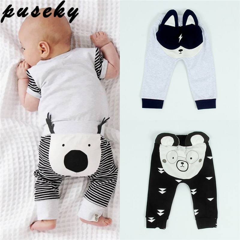 Puseky Cute Animal Newborn Baby Boy Girl Harem Pant 0-24M Infant Bebes 3D Long Pants Trouser Bottoms Toddler Kids Clothes 0-24M cute newborn baby boy girl pant plain long pants kids grey elastic waist pants toddler kids striped bottom trouser clothes
