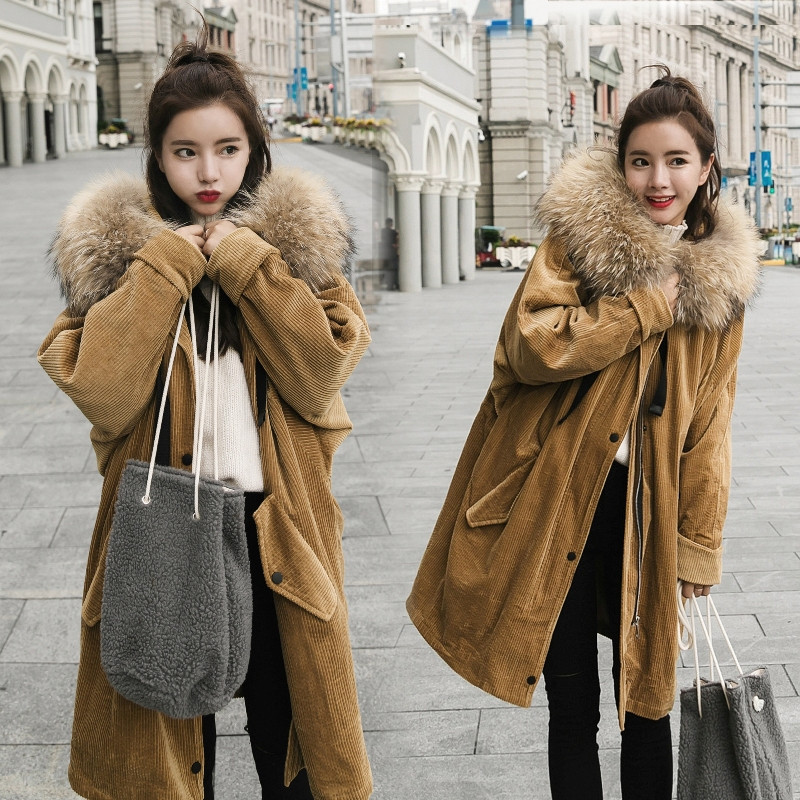 winter coat women raccoon fur collar jackets 2017 long hooded thick corduroy cotton large loose jacket 2017 winter new clothes to overcome the coat of women in the long reed rabbit hair fur fur coat fox raccoon fur collar
