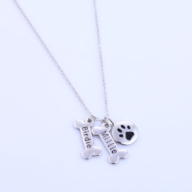 Custom Name Pet Jewelry,Silver&Gold-color Dog Paw Necklace Monogrammed Gift,Paw Print Initial Memorial Dog Bone Charms Necklace dog print keyhole back blouse