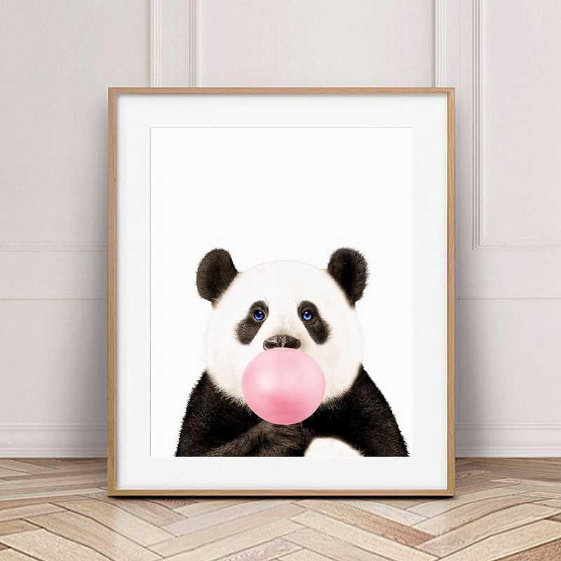 ספארי בעלי חיים עם ורוד בועה משתלת אמנות דקור בד ציור, בעלי חיים פנדה קואלה אלפקה בד אמנות הדפסי בנות חדר דקור