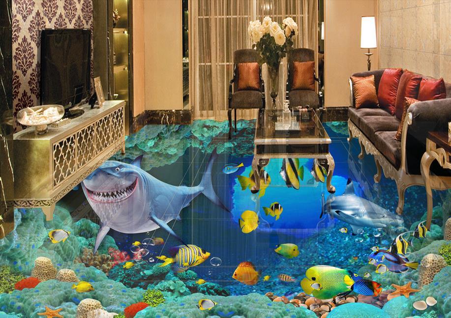 ФОТО vinyl flooring waterproof custom self adhesive wallpaper shark 3d floor tiles kitchen 3d mural wallpaper
