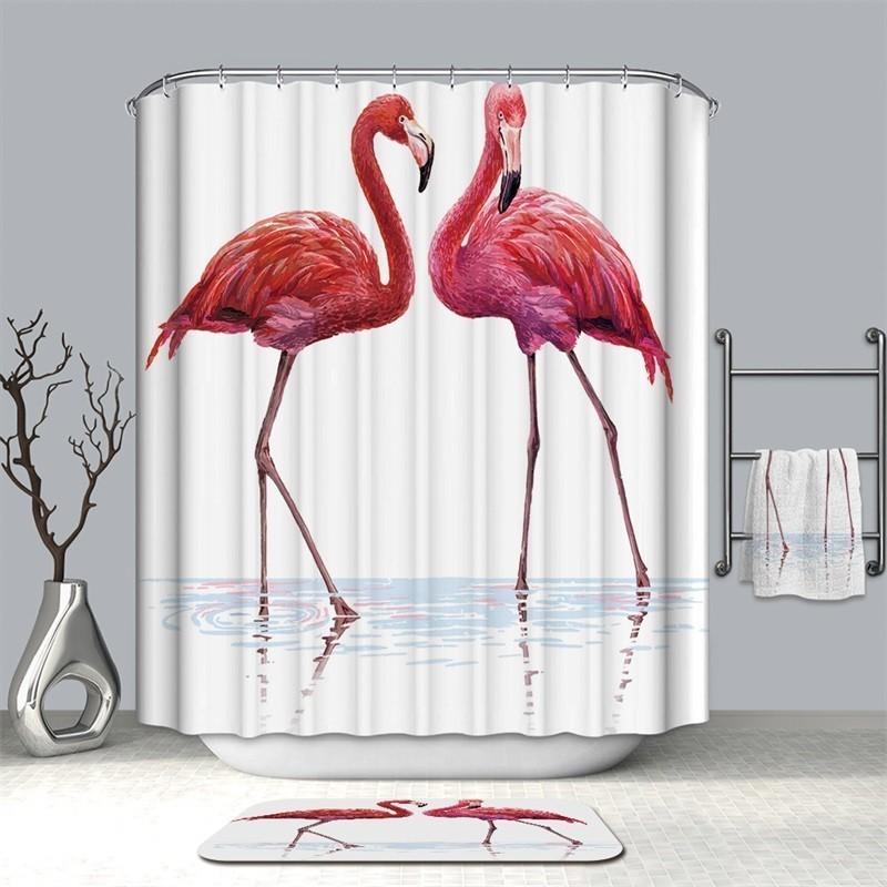 Image 4 - VOZRO Shower Curtain Bathroom Waterproof Polyester Flamingo Africa Bape Douchegordijn Pascoa Cortina Ducha Cactus Youtube London-in Shower Curtains from Home & Garden