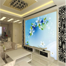 beibehang 3d stereoscopic wallpaper Customize size High Quickly HD mural blue flower seiling limew europe papel de parede(China)
