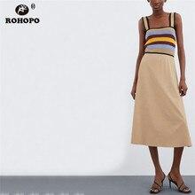 ROHOPO Preppy Girl Chic Spaghetti Strap Maxi Dress Patchaork Rainbow Jersey High Waist Cute Miltiways Flared Vestido #UK9190