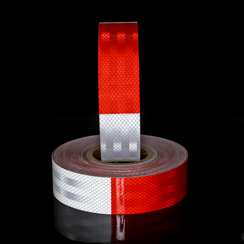 2inch*50yd White&Red High Safety Warning truck reflective material car stickers super reflective tape cart styling accessories