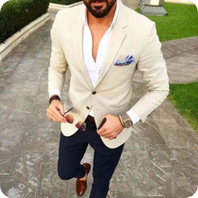 Beige Prom Suits Man Blazers Men for Wedding Plus Size Groom Tuxedo Slim Fit Terno Masculino 2Piece Costume Homme Mariage