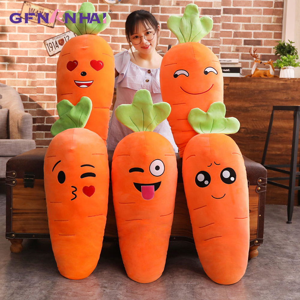 1pc 45/70/90cm Cartoon Smile Carrot Plush Toy Cute Simulation Vegetable Carrot Pillow Dolls Stuffed Soft Toys For Children Gift