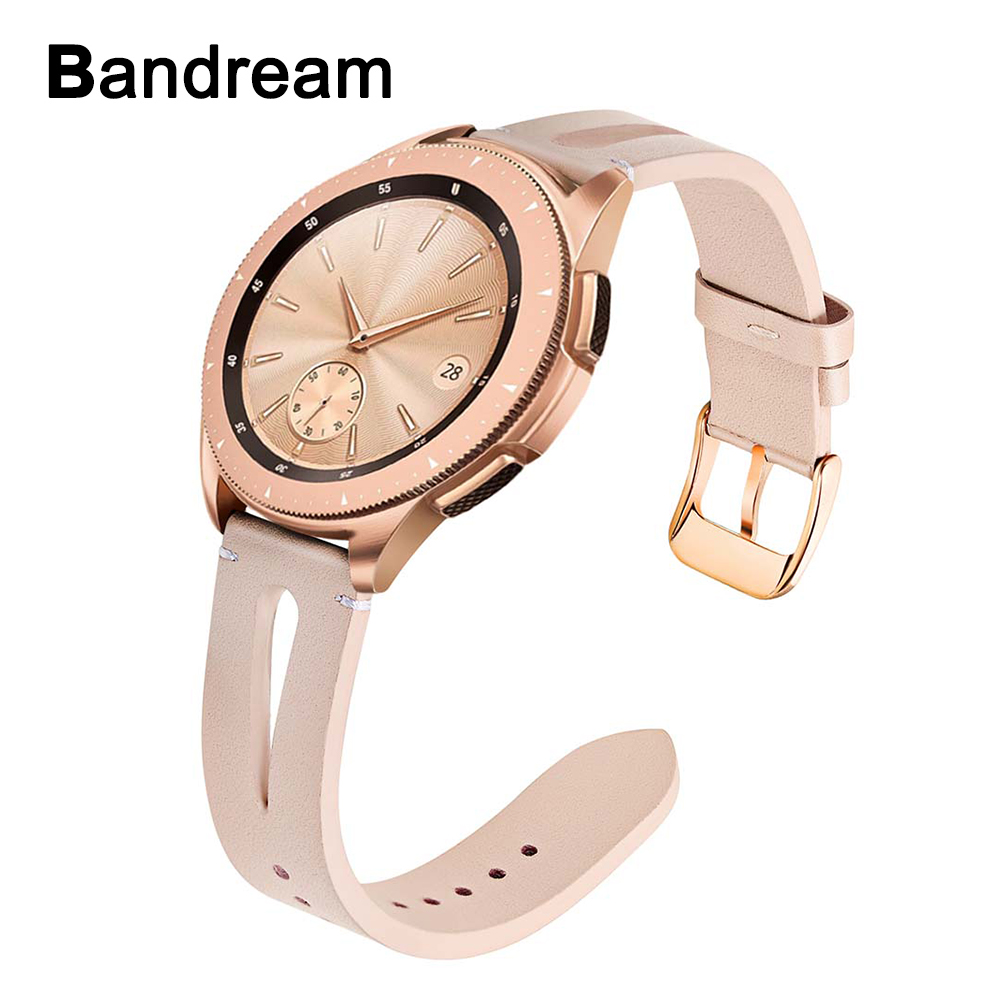 Genuine Leather Watchband For Samsung Galaxy Watch 42mm / Active / Active 2 40mm 44mm Women Band Rose Gold Steel Buckle Strap