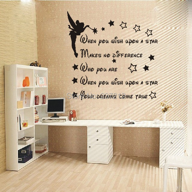 Free shipping When You Wish Upon A Star Tinkerbell Wall Art Picture Sticker  dolls house bedroom