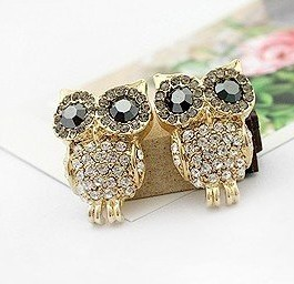 Ahmed Jewelry Hot Sale! Nice quality Fashion Clear Crystal Cute Owl Earring 1pair For Woman 2015 New Stud Earrings E011