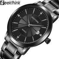 Top Luxury Brand Full Stainless Steel Watches Men Business Casual Ultra Thin Quartz Wristwatch Waterproof Date