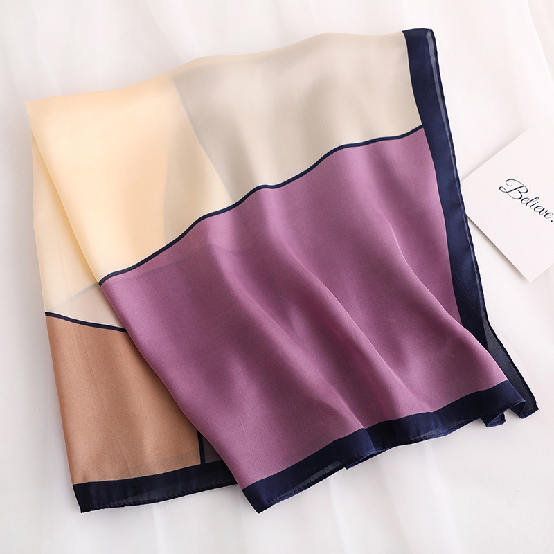 Geometric patchwork silk   scarf   square women high quality neckerchief small winter   scarves   lady hair band skinny scarfs   wrap