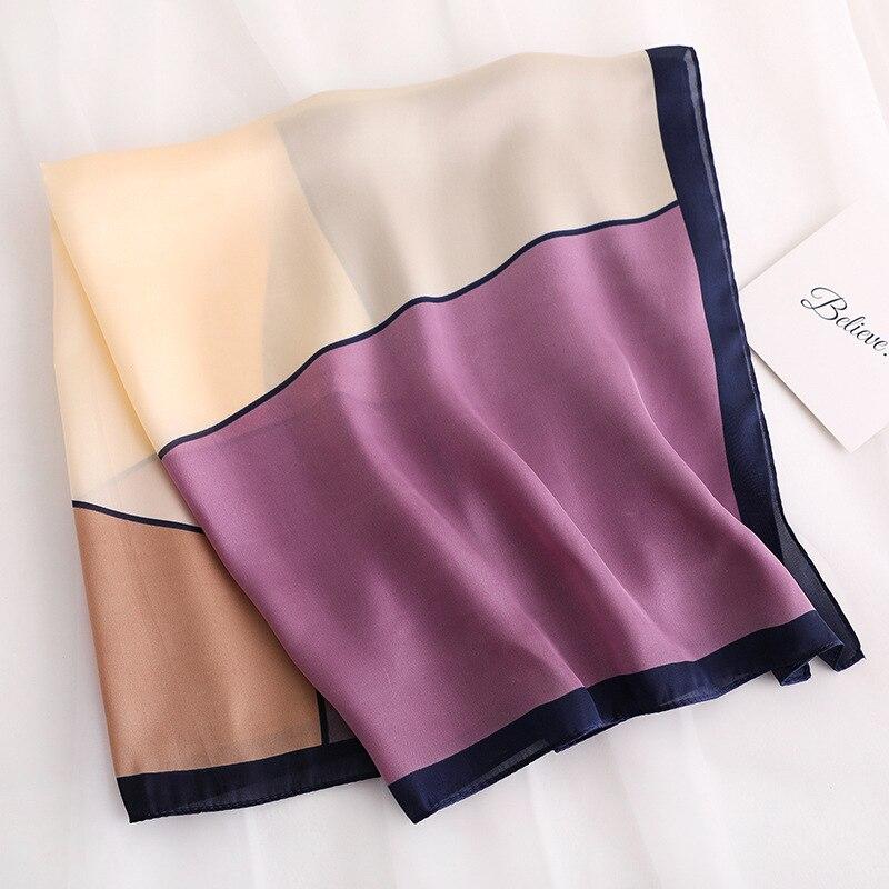 Geometric Patchwork Silk Scarf Square Women High Quality Neckerchief Small Winter Scarves Lady Hair Band  Skinny Scarfs Wrap