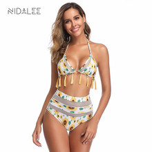 2019 hot bikini sexy triangle swimsuit bandage push up womens swimming suit high waist set tassel swimwear bikinis