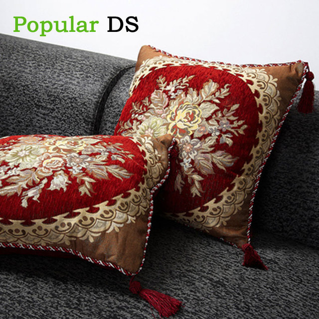 Embroidered Cushion Cover Throw Pillows Office Seat Pillow High Quality Pillowcase European Style Sofa Back