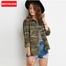 2016 Army Green Camouflage Jacket Women Slim Outerwear Jackets Outwear High Quality Casual Coat Feminina Shirt 16130G986
