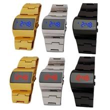 Nueva Moda de Los Hombres de Acero Completo Llevó el Reloj Digital, Relojes deportivos Militar Hombres Relojes de Metal LED Faceless Reloj Pulsera Reloj de Pulsera