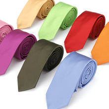 KR456-477 6cm Brand Polyester Silk Ties Men's Slim Skinny Narrow Suits Necktie Solid Yellow Red Navy Purple Party Neck Tie(China)