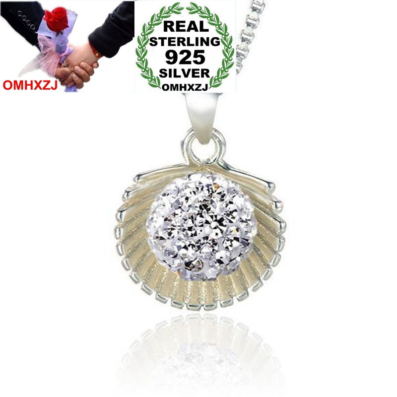 OMHXZJ Wholesale Fashion Creative OL Woman Scallops Drill Ball Zircon 925 Sterling Silver Pendant Charms PE159 NO Chain Necklace