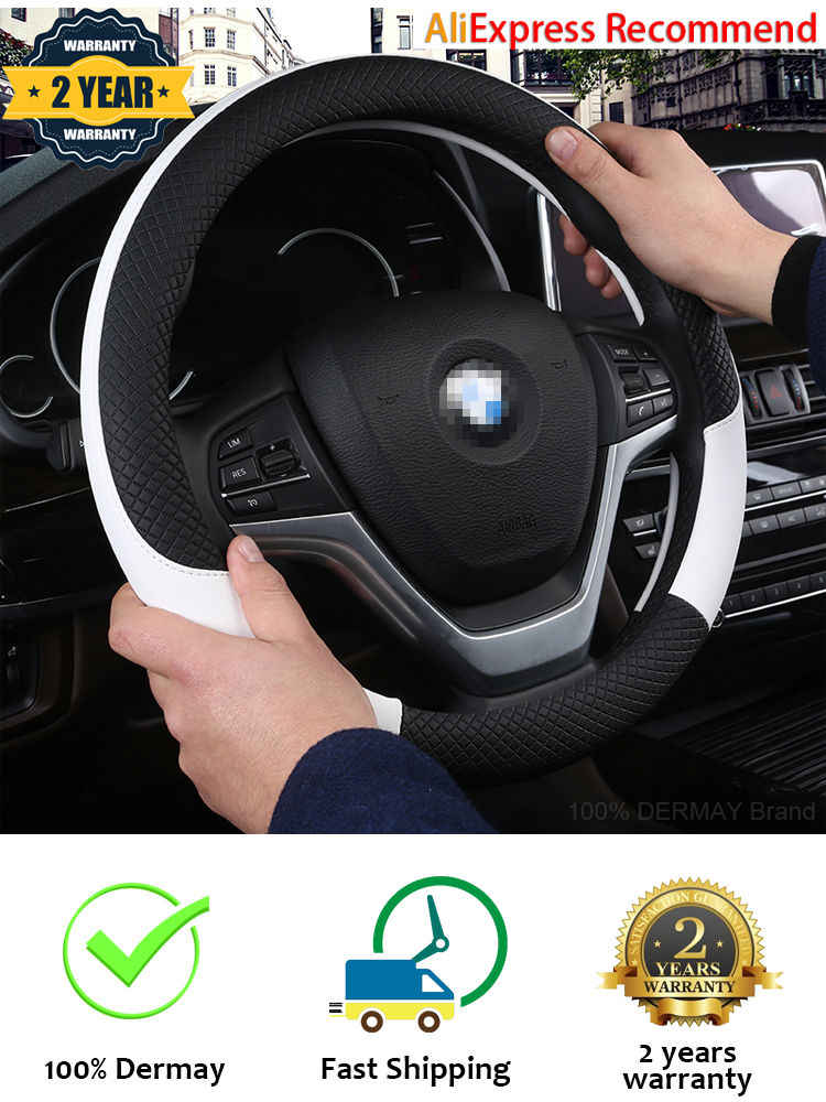 Anti-Slip Black /& Beige Breathable Odorless Practisol Plush Auto Car Steering Wheel Cover for Car SUV Truck Universal 15 inch Warm in Winter