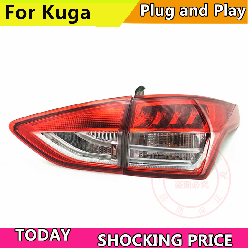 Car Styling Tail Lamp for Ford Kuga Escape 2013-2016 Tail Lights for Kuga LED Tail Light LED Rear Lamp DRL+Brake+Park Stop Lamp universal f1 style drl red 12led rear tail stop fog brake light lamp car motor external lights free shipping