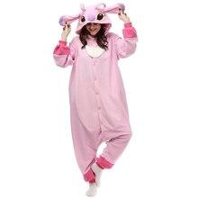 Pink Stitch Kigurumi Polar Fleece Overall Costume Cartoon Onesie Pajamas Halloween Carnival Masquerade Party Jumpsuit For