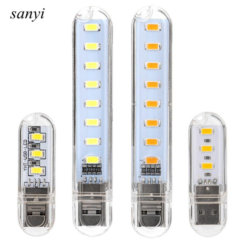 Mini USB Flashlight Torch 3LED/8 LED USB SMD Camping Night Light For PC Desktop Laptop Notebook Reading Universal