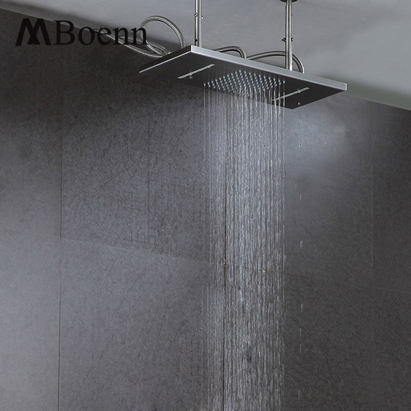 Bathroom Rainfall And Waterfall Shower 300*500mm Shower Heads Brushed Finished Ceiling Mounted Rain Showers With Shower Arms