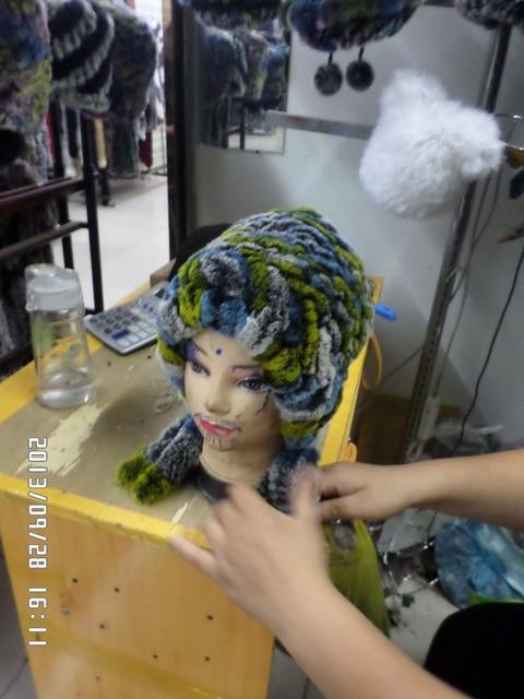 Colorful rabbit real fur knitting hat