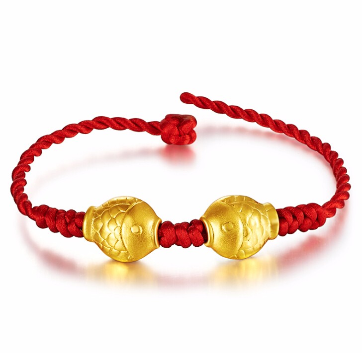 New  Solid 24K Yellow Gold Bracelet Lucky Fish Knitted Beads BraceletNew  Solid 24K Yellow Gold Bracelet Lucky Fish Knitted Beads Bracelet