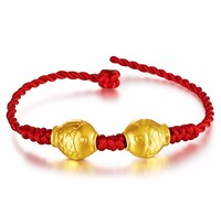 New Solid 24K Yellow Gold Bracelet Lucky Fish Knitted Beads Bracelet
