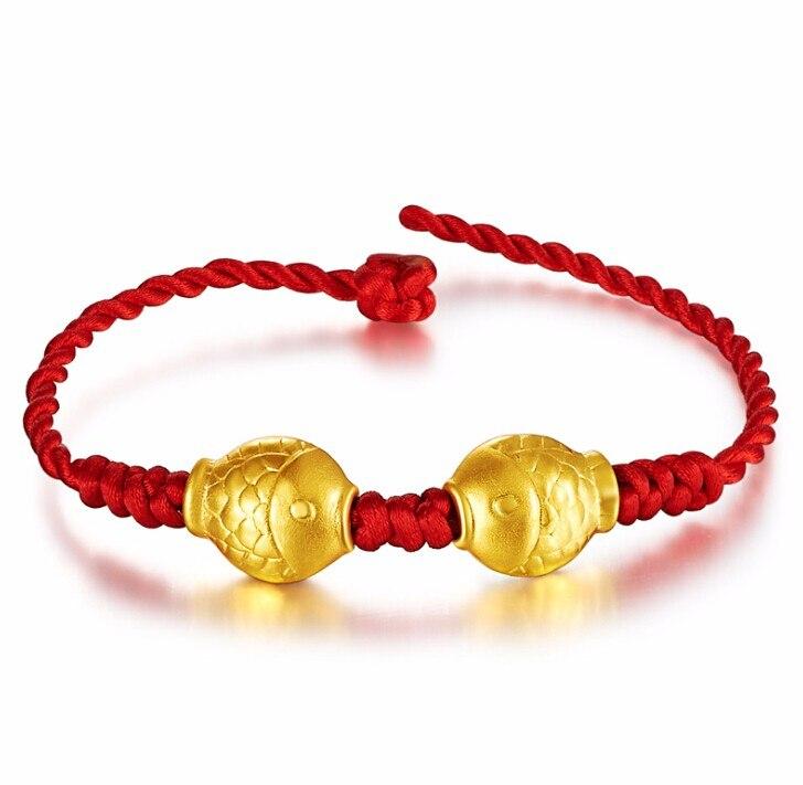 Nouveau Bracelet en or jaune 24 K solide Bracelet en perles tricotées avec poisson chanceux