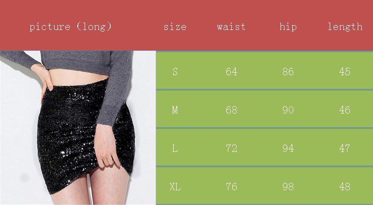 1c03799d93a8 Style: Sequin Glitter Mini Skirt. Size : S M L XL. Attention plz: If you  are chubby, we recomend choosing a larger size, thanks