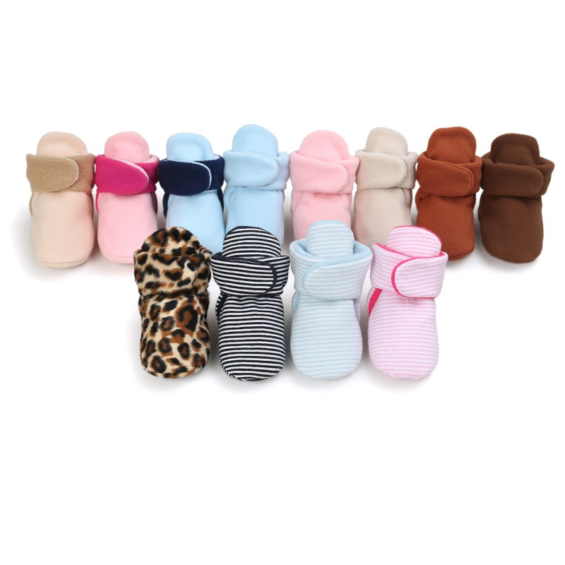 Autumn Winter Lovely Baby Girls Warn Leopard Shoes Cotton Soft Cute Crib Toddlers Anti-skid Boots Sneakers 12 Colors