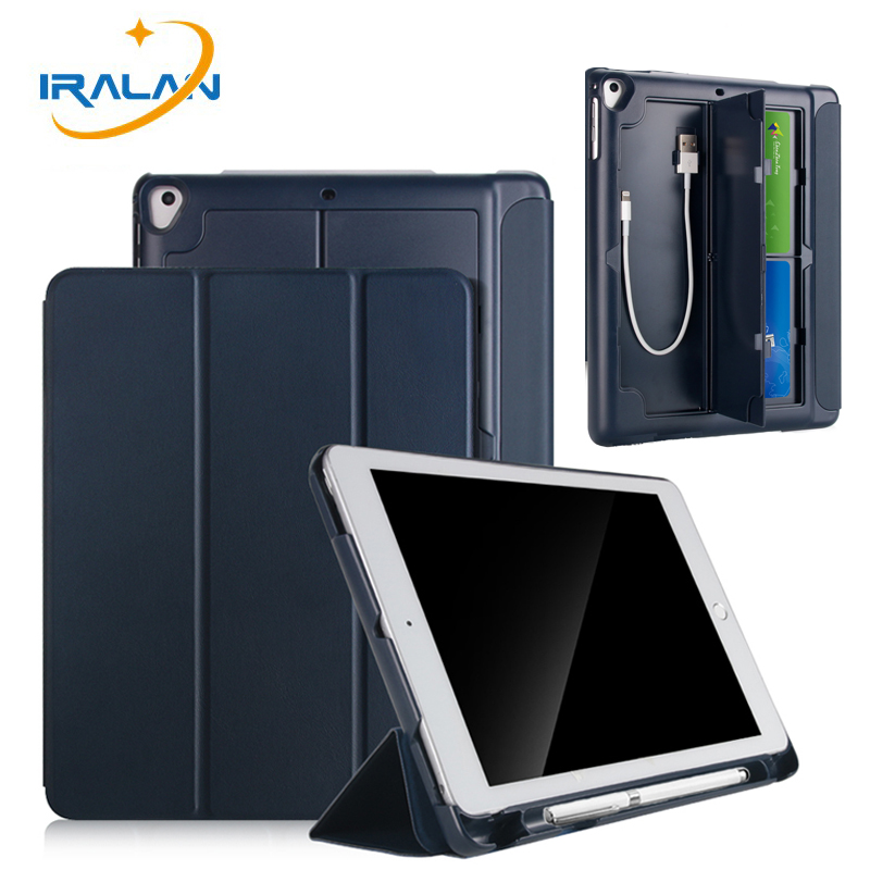 Case For Apple ipad 9.7 2017 2018 With Pencil Holder Cover For iPad 5 6 Air 1 2 New USB Card Tablet Shell Flip Stand Cover+Film