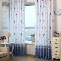 2016 100 200cm New Xmas Qualified Country Style Decor Pastoral Moon Print Sheer Window Curtains For