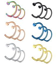 FEECOLOR 20G 2-18 PCS Stainless Steel Body Jewelry Piercing Nose Ring Hoop