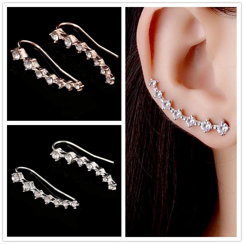 EK688 New Brincos Punk Bijoux mujer Boucle D'oreille Silver Big Dipper Crystal Stud Earrings For Women Wedding Jewelry Girl Gift