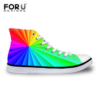 FORUDESIGNS 2018 Autumn Women's High Top Canvas   Shoes  ,Classic Female Casual   Vulcanized     Shoes  ,Girls Lace up Lovers Flat   Shoes