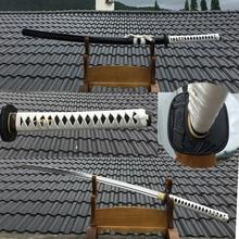 Real Katana Samurai-Sword Guard Bamboo-Pattern Handmade 1060 High-Carbon-Steel Full-Tang