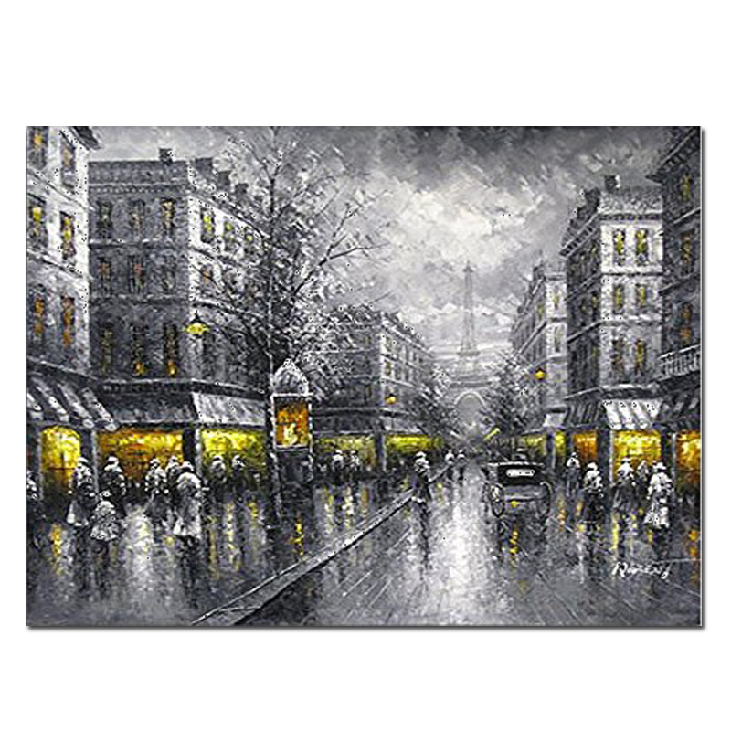 City New York Oil Painting On Canvas Wall Art For Living: Paris Street View Modern Europe City Artwork Oil Paintings